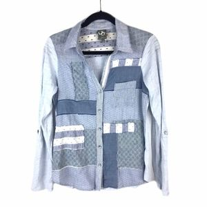 Anthropologie > Chambray Patchwork Shirt Sz S